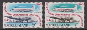 Norfolk Island 1968 Qantas Anniversary Sc#119-120 MH