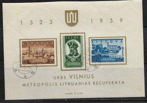 LITHUANIA  316a USED VINIUS TO LITHUANIA SOUVENIR SHEET