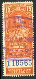 CANADA 1930 KGV 75c ELECTRICITY AND GAS INSPECTION REVENUE VDM FEG3 VFU
