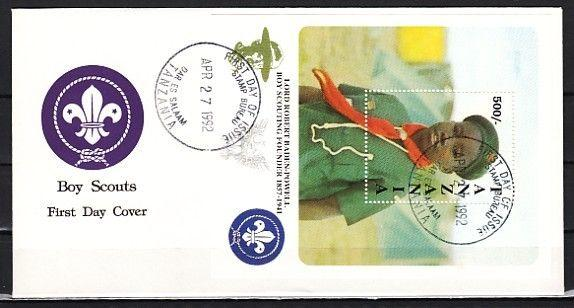 Tanzania, Scott cat. 847. Baden Powell, Scout Anniv. s/sheet. First day cover