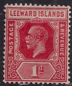 Leeward Islands 1921 - 32 KGV 1d Carmine Red MM Die 2 SG 60 ( G1382 )