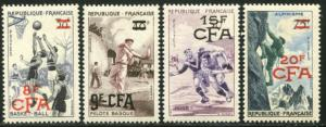 REUNION Sc#318-321 1956 Overprints on France Sports Complete Set OG Mint NH