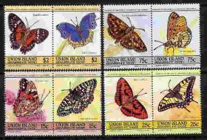 UNION ISLANDS 1985 BUTTERFLY SET OF 8 STAMPS MINT COMPLETE SET OF 8