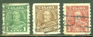 CANADA Scott 228-230 used coil stamps CV $3.75