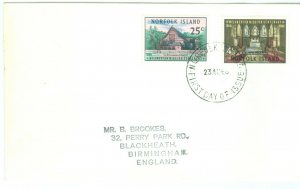 1c Gems  Norfolk Island  #97-8 uncacheted addressed FDC