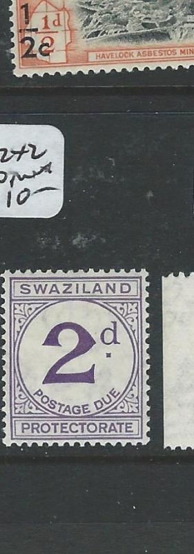 SWAZILAND (P1907B) POSTAGE DUE 2D  SG D2 X 2 SHADES    MNH
