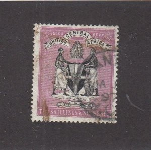 BRITISH CENTRAL AFRICA # 26 VF-PART DATED 2/6d COAT OF ARMS CAT VALUE $375