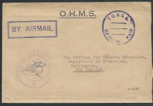 TONGA c1972 OHMS cover to NZ - TONGA / OFFICIAL PAID.......................83593