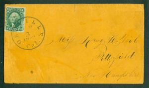 US 1860 WASHINGTON 10c green Type II Sc# 32 FVF used on cover from OROVILLE Cal.