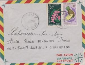 Cameroun 20F Mountain Rose and 10F Pineapple 1969 Doume, Cameroun Airmail to ...