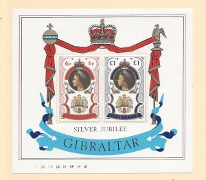 Gibraltar, 339a, Silver Jubilee 1977 S/S of 2 w/Control # '1F', MNH