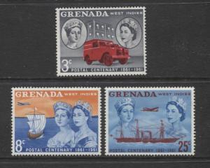 Grenada -Scott 187-89 -  Postal Centenary Issue -1961 - MLH - Set of 3 Stamps