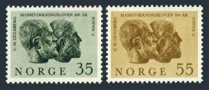 Norway 452-453,MNH.Michel 514-515. Law of Mass Action.Scientists,1964.