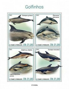 St Thomas - 2021 Dolphins, Risso's, Harbour Porpoise - 4 Stamp Sheet - ST210209a