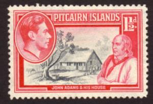 Pitcairn Is 1940 Sc#3,SG#3 1-1/2d House of John Adams FU