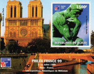 Chad 1999 Auguste RODIN -Philexfrance 99 S/S perforated MNH Sc# 811