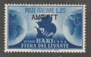 Italy-Trieste, Scott# 129, MNH, blue, ship, globes, sea,  #M770