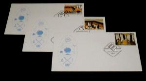 U.N. 2014, EDUCATION, SINGLES ON FDCs, ALL 3 OFFICES, NICE LQQK