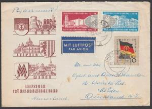 EAST GERMANY 1959 airmail cover to New Zealand - nice franking.............55416