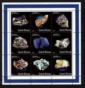 Guinea-Bissau MNH S/S Minerals Blue Sciences 2001 9 Stamps