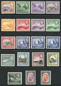 Cyprus 1938 SG151/3 KGVI Set of 19 m/mint