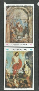 Turks & Caicos 1990 Christmas, Paintings, Ruebens, 2 MS UM SG Ms1066