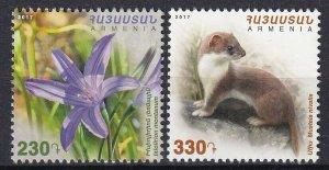 Armenia 2017 Animals, Flowers 2 MNH stamps