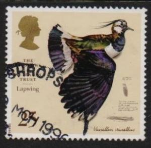 Great Britain 1996 used wildfowl  bird  lapwing 25p.#