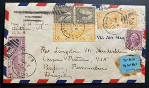 1937 Clinton SC Usa Airmail Cover To Pernambuco Brazil