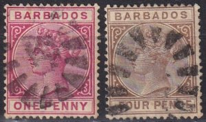 Barbados #61, 65  F-VF Used CV $3.65 (Z2455)