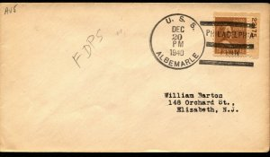 USS ALBEMARLE AV-5 FIRST DAY IN POSTAL SERVICE 1940 NAVAL COVER W 1½c P# STAMP