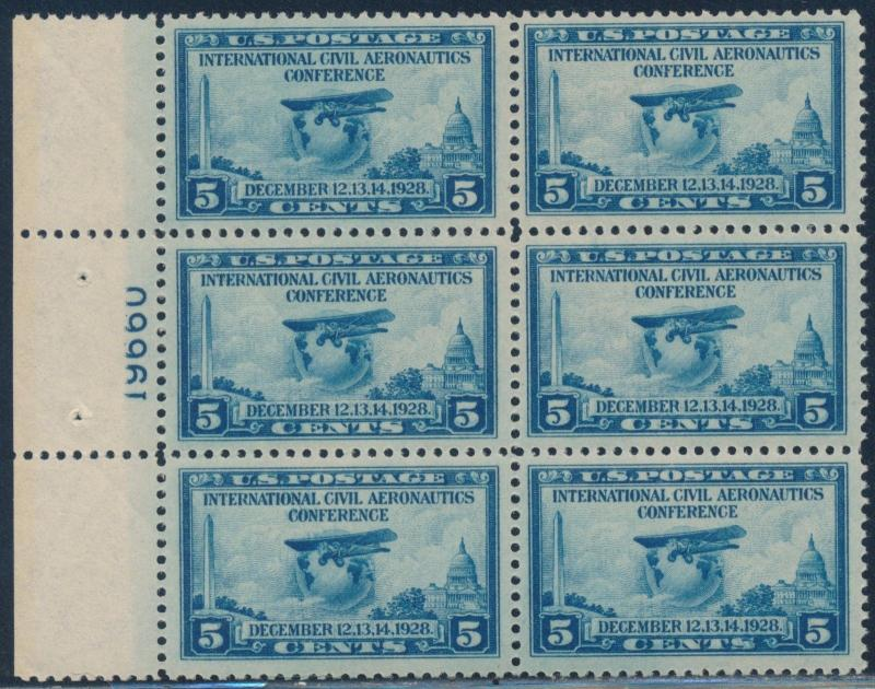 #650 VF OG NH LEFT MARGIN PL # BLOCK OF 6 LIVELY ROYAL BLUE SHADE CV $70 BT2712