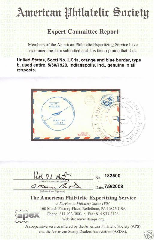 us sc uc1a used 1929 5c blue orange border air races cachet apex
