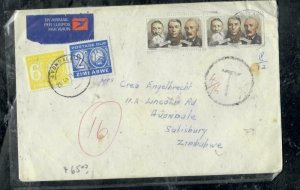 ZIMBABWE COVER (PP0301B) 1961  INCOMING COVER FROM SA POSTAGE DUE 2C+6C