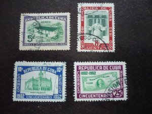 Stamps - Cuba - Scott# C57-C60 -Used Set of 4 Air Mail Stamps
