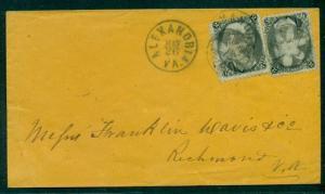 "1860's Alexandria, VA ""Floral"" type fancy cancel on 2¢ (2) Jackson (#87) tied"