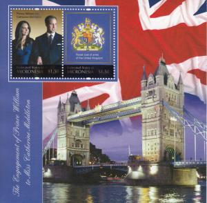 Micronesia Royalty Stamps 2010 MNH Royal Engagement Prince William Kate 2v S/S I