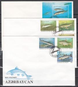 Azerbaijan, Scott cat. 386-391, 392. Freshwater Fish on 3 First day covers.