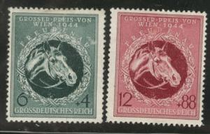 Germany Scott B284-5 MH* 1944 Horse Semi-Postals toned