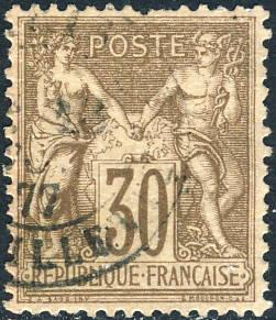 FRANCE - 1876 Yv.69 / Mi.64I 30c brown Peace & Commerce (Sage) T.1 - used