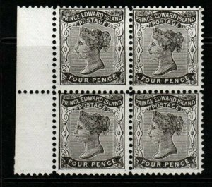 PRINCE EDWARD ISLAND SG31 1870 4d BLACK BLOCK OF 4 MNH