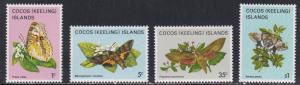 Cocos Islands # 87, 89, 94 & 100, Butterflies, NH, 1/3 Cat