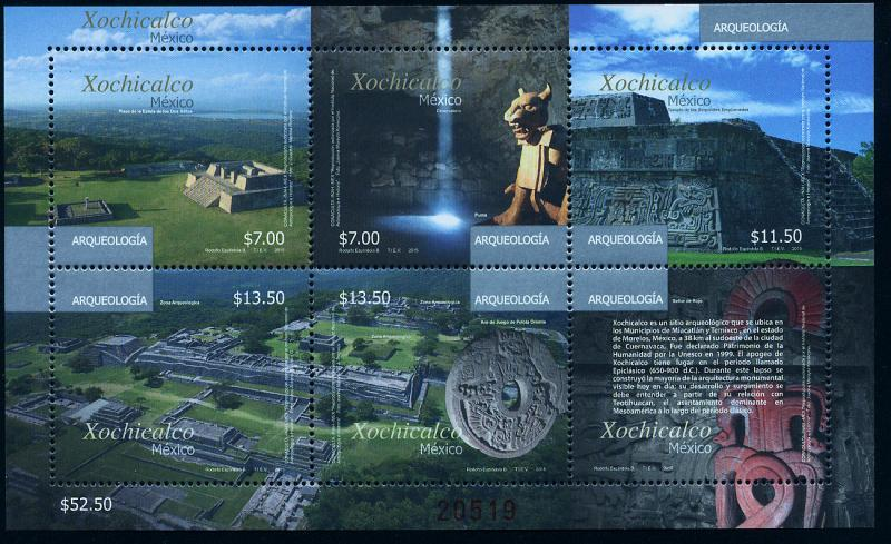 MEXICO 2952, Xochicalco Archeological Site. Souv. Sheet. MINT, NH. F-VF.
