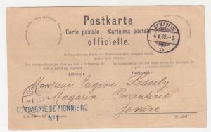 SWITZERLAND, Official Postal Card, 1892 St. Maurice to Geneva.