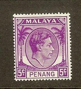 Malaya-Penang, Scott #7, 5c King George VI, MH