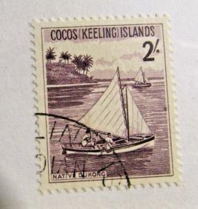COCOS KEELING ISLANDS  Scott #5 Θ used , 2/ boat ship stamp, fine +