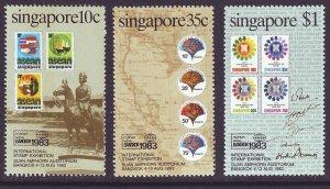 SINGAPORE SC#423-425 Bangkok Stamp Exhibition (1983) MNH