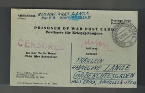 1946 Germany POW Prisoner of War PC Cover Garmisch Major General Kurt Lange