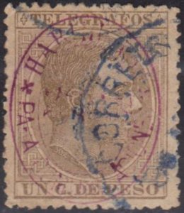 Cuba Stamps Telegraphs King Alfonso Spain Surcharged Unlisted U