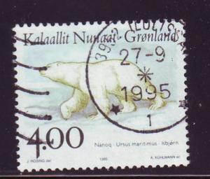 Greenland Sc 296  1996 4 kr polar bear stamp used